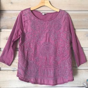 Lucky brand embroidered quarter sleeve top sz. Lrg